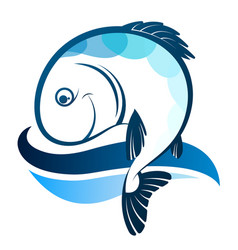 fish silhouette and wave vector image