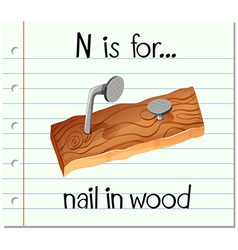 Flashcard alphabet N is for nail in wood vector