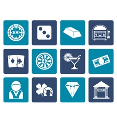Flat casino and gambling icons vector