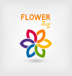 Flower shop logo design rainbow colors vector