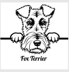 fox terrier - peeking dogs - - breed face head vector image