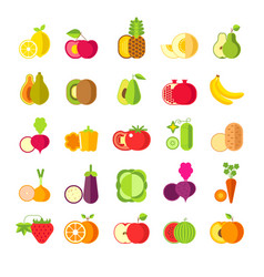 fruits and vegetables isolated icons healthy vector image
