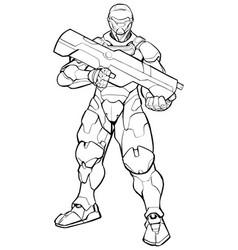 Futuristic soldier line art vector
