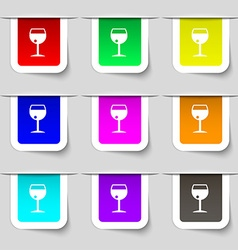 Glass of wine icon sign Set of multicolored modern vector