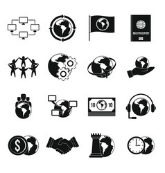 Global connections icons set simple style vector