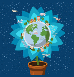 Globe gently flower ecology concept cartoon style vector