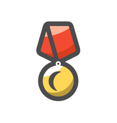 gold award with red ribbon icon cartoon vector image