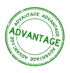 Grunge green advantage wording round rubber seal vector