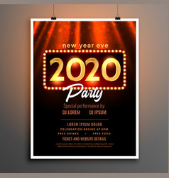 Happy new year 2020 party flyer template design vector