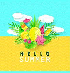 Hello summer banner with sweet travel vacation vector