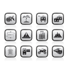Holiday travel and transportation icons vector