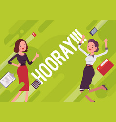 Hooray business motivation poster vector