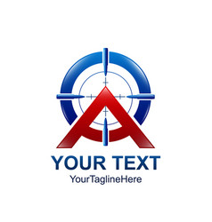 initial letter a logo template colored red blue vector image