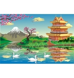 Japanese Palace on a river with swans in black and vector