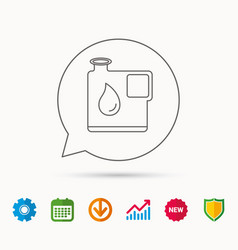 Jerrycan icon petrol fuel can with drop sign vector