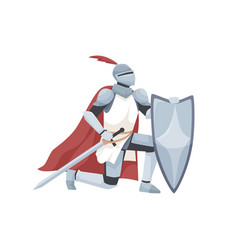 Knight in armor and red cloak holding shield and vector