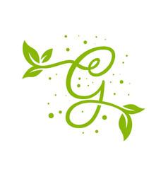 leaf logo design letter g vector image