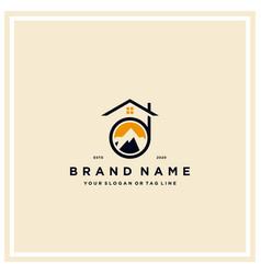 Letter d mountain home logo design vector