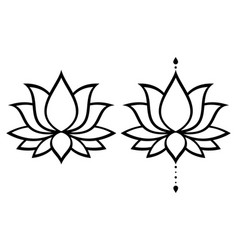 Lotus flower design set yoga decoration vector