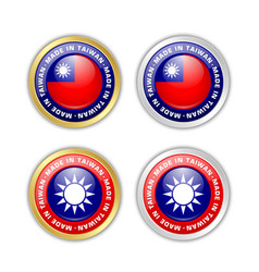 made in taiwan badges with taiwanese flag vector image
