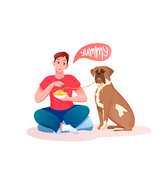 man giving favourite food to saint bernard dog vector image