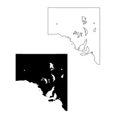 Map south australia black and outline maps eps vector