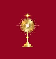 Monstrance gold ostensorium catholic golden symbol vector