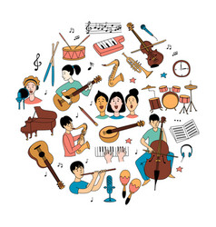 music lessons students different musical vector image