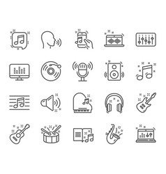 music line icons set of acoustic guitar musical vector image