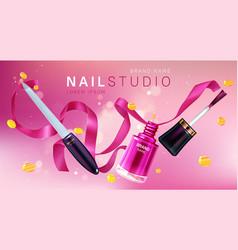 Nail studio manicure salon brand poster vector