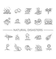 Natural disaster thin line vector