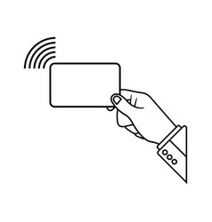 Nfc payment icon via with credit card contactless vector