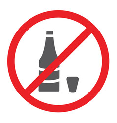 no alcohol glyph icon prohibited and ban no vector image