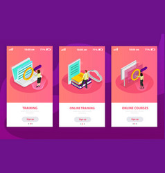 online learning isometric composition vector image