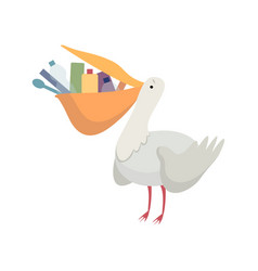 Pelican with plastic trash in its beak global vector