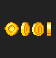 Pixel game coins animation golden pixelated coin vector