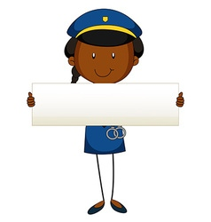 Police officer holding blank sign vector image