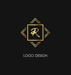 premium style r letter logo gold symbol on a vector image