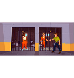 prisoners in prison jail and policeman police vector image