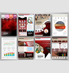 red business brochure template with infographic vector image
