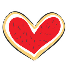 red heart cookie on white background vector image