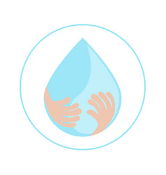 save water concept human hand with water drop on vector image