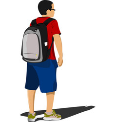 School boy waiting for school bus back to school vector