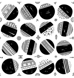 seamless pattern with ethnic tribal boho circles vector image