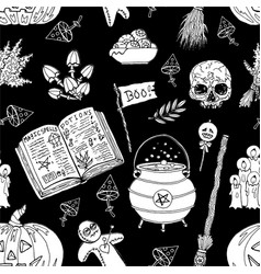 seamless pattern with skull witch cauldron mushr vector image