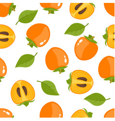 Seamless pattern with whole persimmon and slice vector