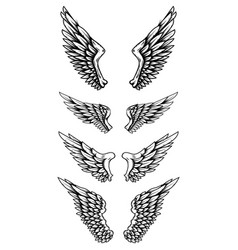 set eagle wings in tattoo style design vector image