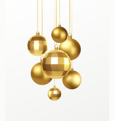 set golden realistic christmas decorations vector image