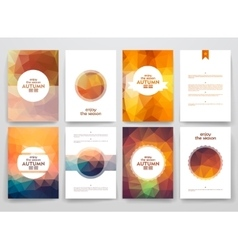 Set of brochures in poligonal style on autumn vector