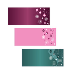 set three christmas banners copy space pink vector image